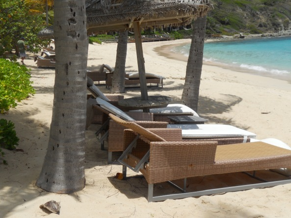 Peter Island resort provides comfy chaises on the beach